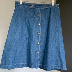 Orivs Vintage Button Up Denim Skirt